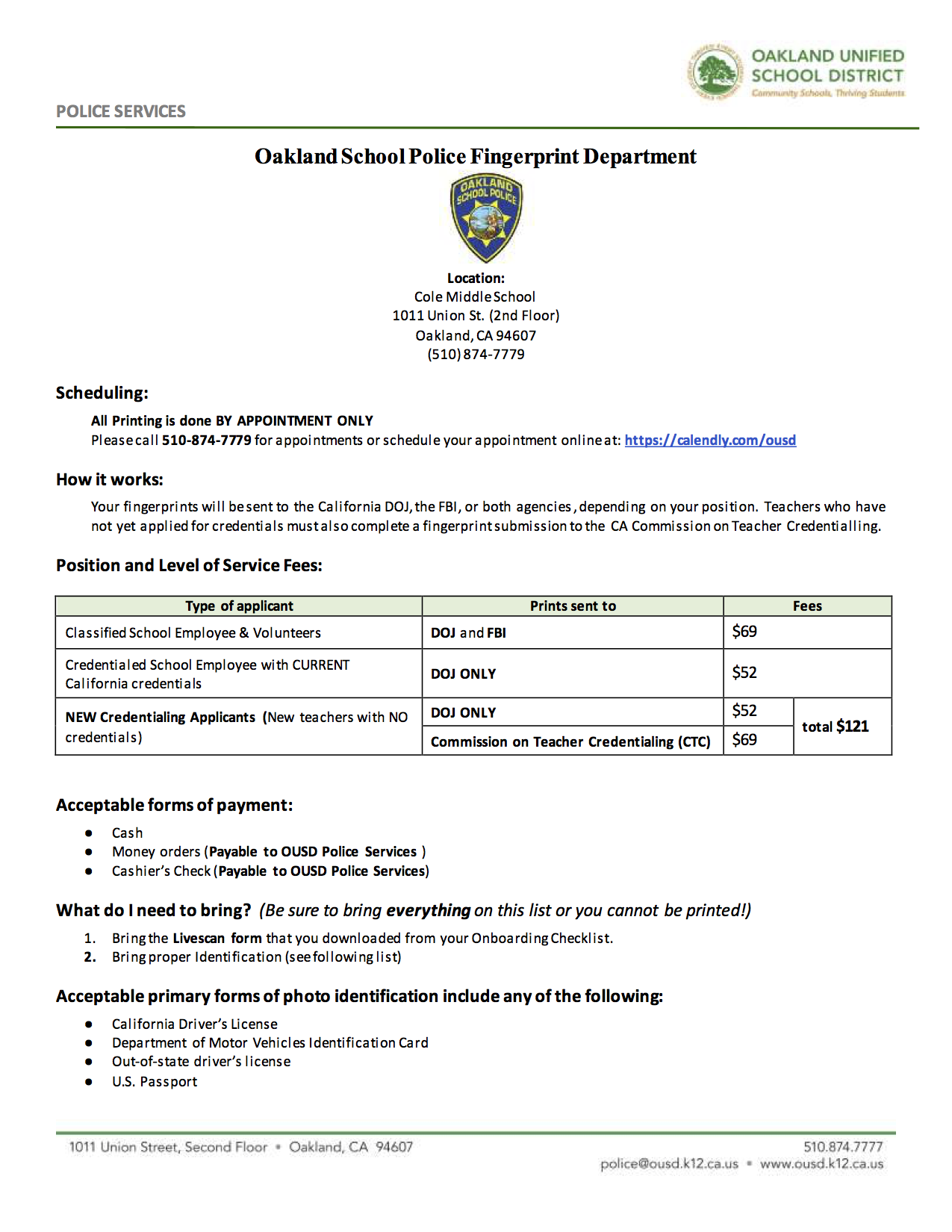 Fingerprints Oakland Unified School District Human Resources